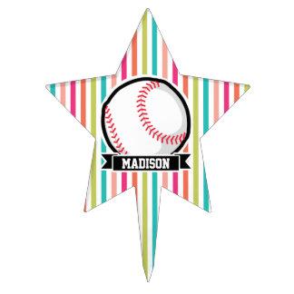 Colorful Stripes; Personalized Softball Cake Picks