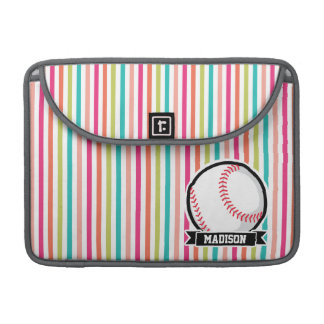 Colorful Stripes; Personalized Softball MacBook Pro Sleeve