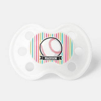 Colorful Stripes; Personalized Softball BooginHead Pacifier