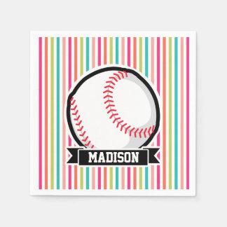 Colorful Stripes; Personalized Softball Paper Napkin