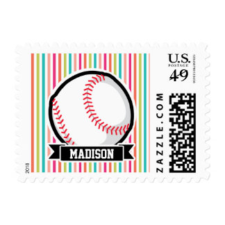 Colorful Stripes; Personalized Softball Postage Stamp