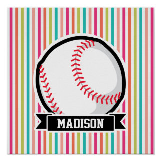 Colorful Stripes; Personalized Softball Poster