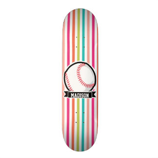 Colorful Stripes; Personalized Softball Skate Deck