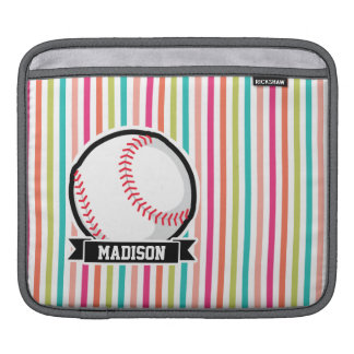 Colorful Stripes; Personalized Softball Sleeve For iPads