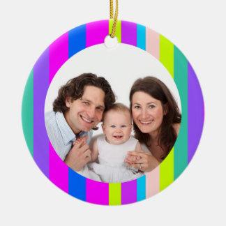 Colorful Stripes/Photo Christmas Ornament