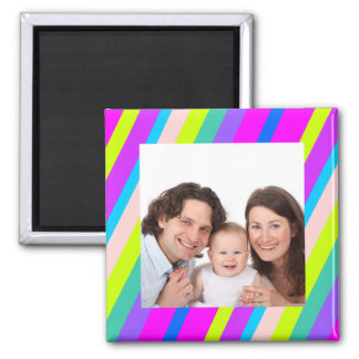 Colorful Stripes/Photo Refrigerator Magnets