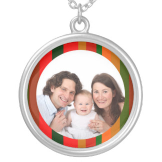 Colorful Stripes/ Photo Silver Plated Necklace