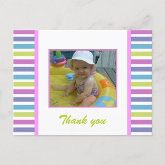 Colorful Stripes: Picture: Thank You Postcard