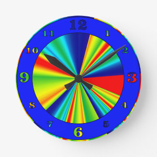Colorful Stripes Pinwheel Round Clock