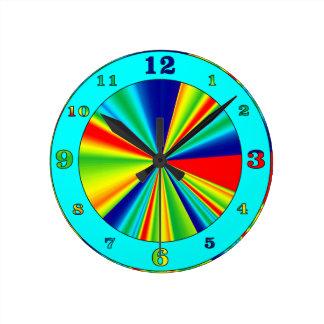 Colorful Stripes Pinwheel Wall Clocks