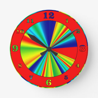 Colorful Stripes Pinwheel Round Clock
