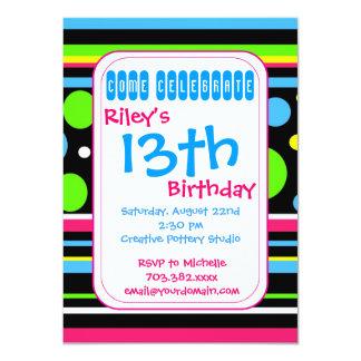 Colorful Stripes Polka Dots Birthday Invitations