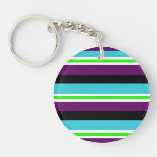 Colorful Stripes Purple Teal Blue Lime Green Black Keychain
