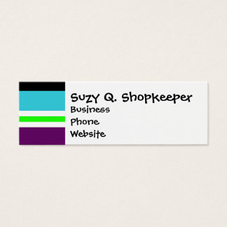 Colorful Stripes Purple Teal Blue Lime Green Black Mini Business Card