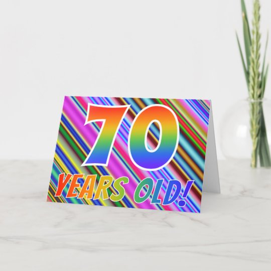 Colorful Stripes Rainbow Pattern 70 Years Old Card