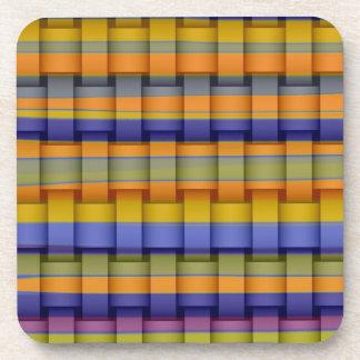 Colorful stripes retro graphic design coasters