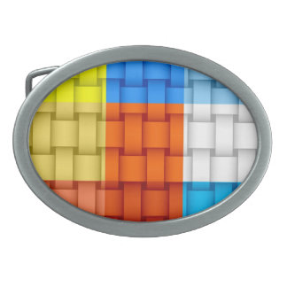 Colorful stripes retro graphic design oval belt buckle