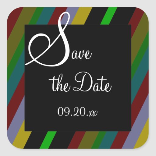 "Colorful Stripes ""Save the Date"" Square Sticker"