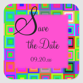 "Colorful Stripes ""Save the Date"" Square Sticker"