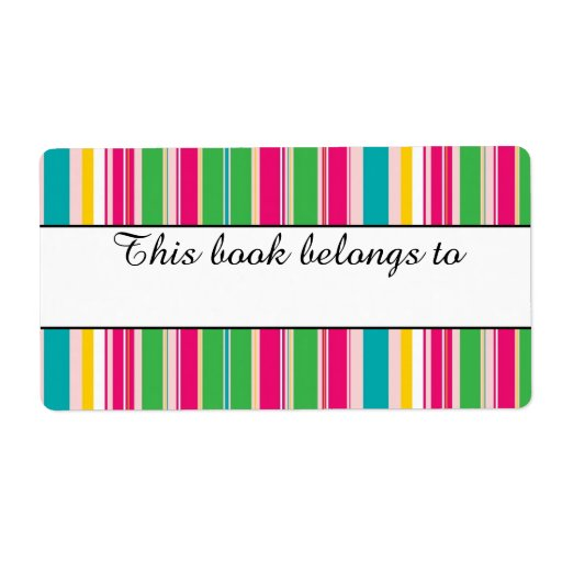 """Colorful Stripes """"This Book Belongs To"""" Labels"""