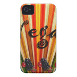 Colorful Stripes Vegan Raspberries Case-Mate iPhone 4 Case