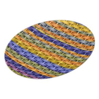 Colorful stripes wicker art graphic design 2 plate