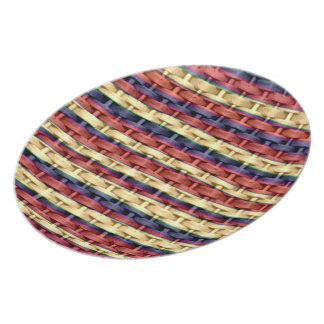 Colorful stripes wicker art graphic design plate