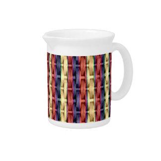 Colorful stripes wicker graphic design pitcher