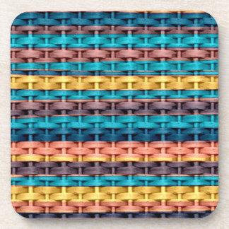 Colorful stripes wicker retro graphic design 3 coaster