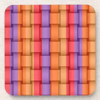 Colorful stripes wicker retro graphic design beverage coaster