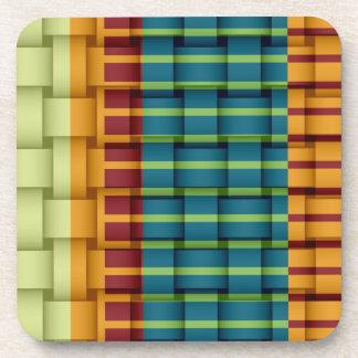 Colorful stripes wicker retro graphic design beverage coasters