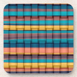 Colorful stripes wicker retro graphic design coaster