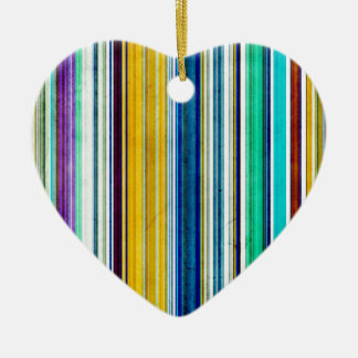 Colorful Stripes With Texture Ceramic Ornament