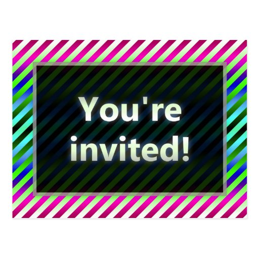 Colorful Stripes You're Invited Green Dark Post Cards