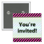 Colorful Stripes You're Invited Pink Light Pinback Buttons