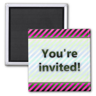 Colorful Stripes You're Invited Pink Light Magnet