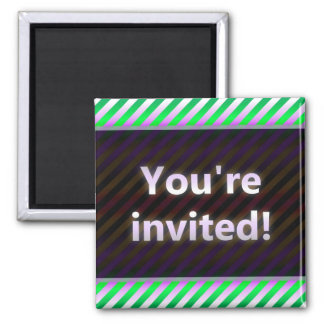 Colorful Stripes You're Invited Purple Dark Magnet
