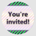 Colorful Stripes You're Invited Purple Light Classic Round Sticker