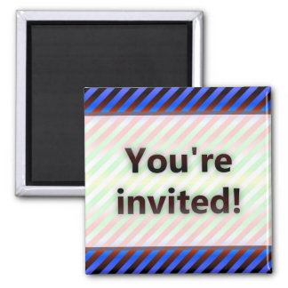 Colorful Stripes You're Invited Red Light Magnet