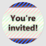 Colorful Stripes You're Invited Red Light Classic Round Sticker