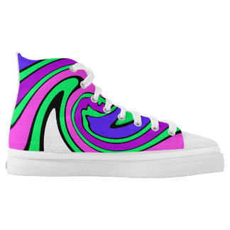 Colorful Stripes Zipz High Top Shoes, US Women 8 Printed Shoes