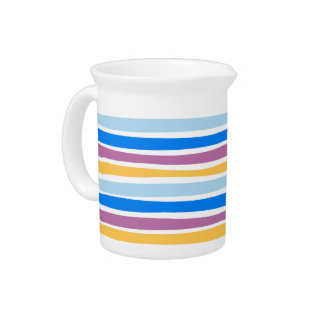 Colorful Strips Blue, Purple, Gold Ceramic Pitcher
