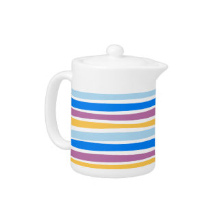 Colorful Strips Blue, Purple, Gold Teapot