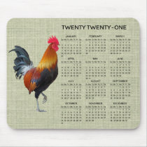 Colorful Strutting Rooster 2021 Calendar Mousepad