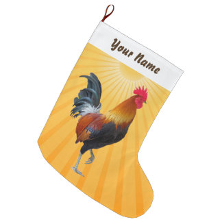 Colorful Strutting Rooster Christmas Stocking