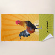 Colorful Strutting Rooster Design Beach Towel