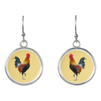 Colorful Strutting Rooster Design Drop Earrings