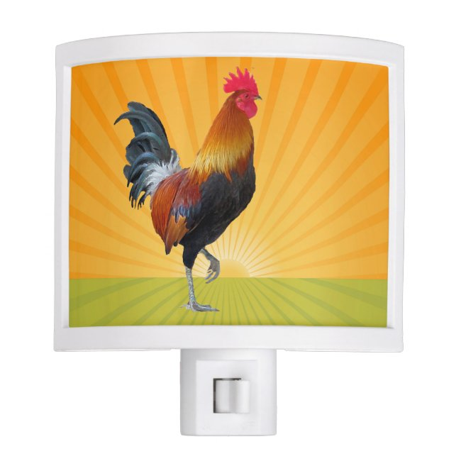 Colorful Strutting Rooster Design Night Light