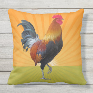 Colorful Strutting Rooster Design Outdoor Pillow
