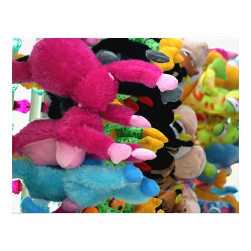 colorful stuffed animals abstract at fair midway flyer design